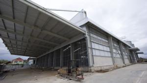 Finished feed loading area under construction