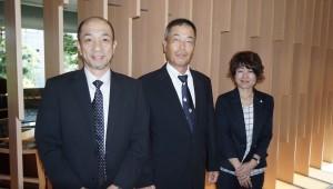 (from left) Shuji Watanabe Akihiro Shimizu and Chiemi Ichikawa